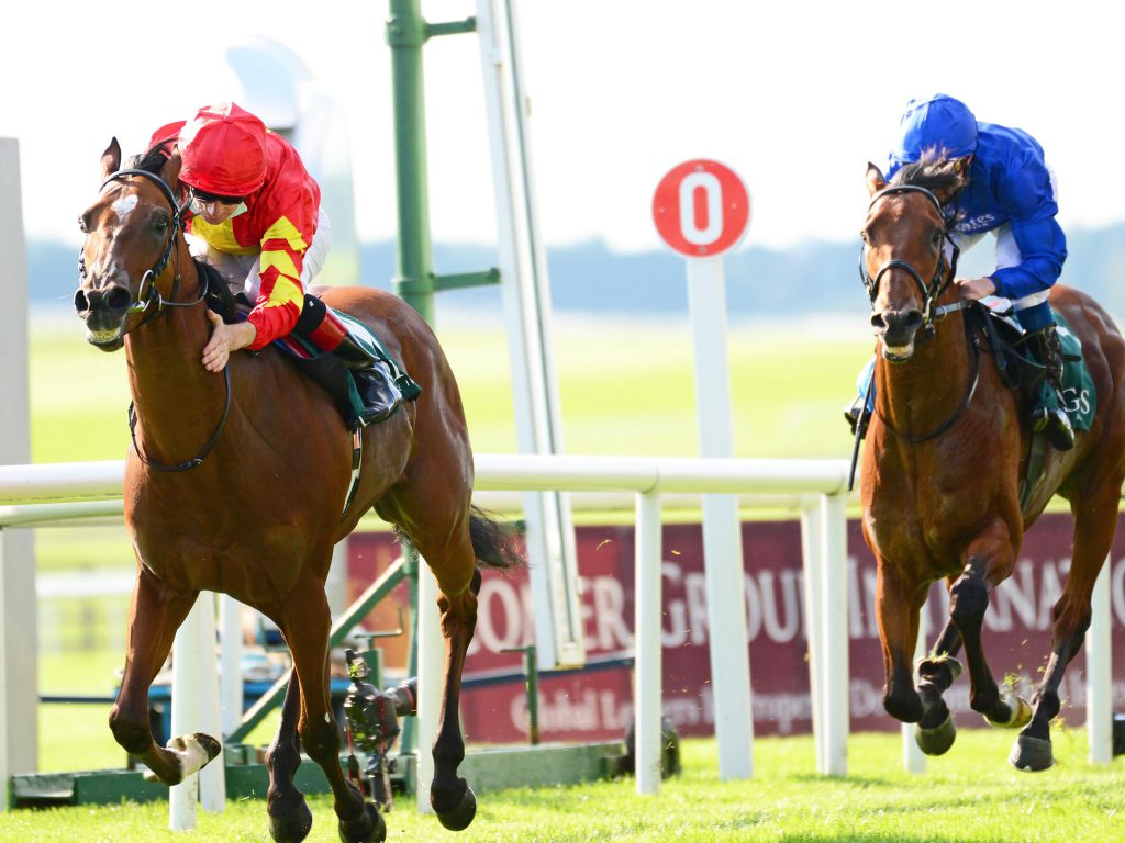 Thunder Moon (D P McDonogh) winning the Goffs Vincent O'Brien National Stakes (Group 1) The Curragh